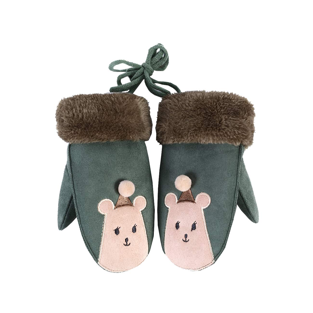 Color 4 W-RHYME Girls Mittens with Strings Warm Thick Faux Suede Gloves