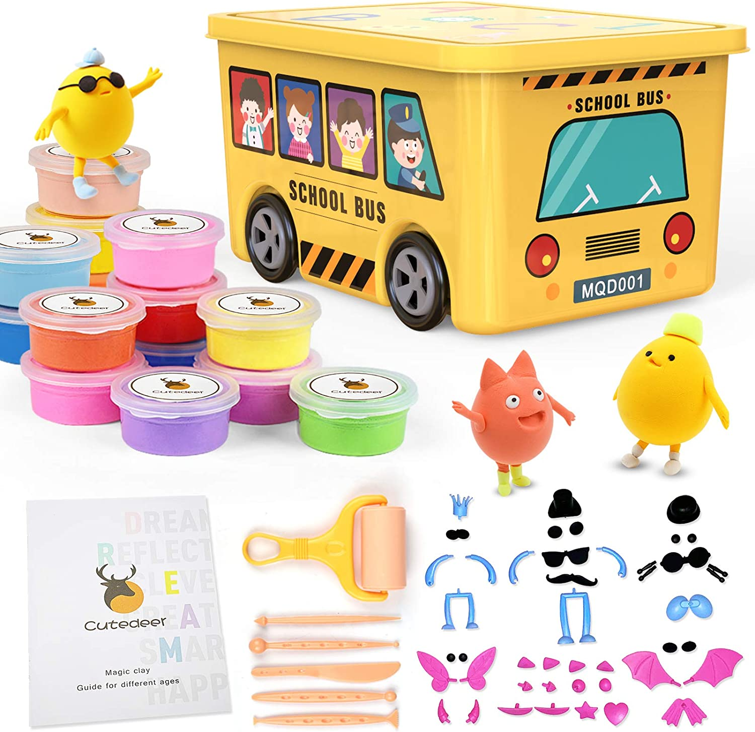 36 Colors Air Dry Clay Kit for Kids, Magic Modeling Clay Ultra Light Clay, Sculpting Tools, Accessories and Tutorials, DIY Art Craft Gifts for Boys Girls with School Bus Box