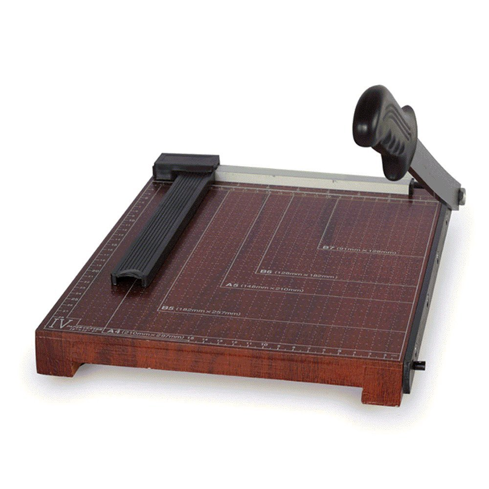 Finlon Wood Guillotine Paper Trimmer A4 Paper Photo Cutter Cutting Machine,10 Sheets Capacity with Grid, Metal Base