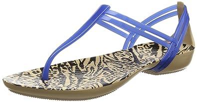 523cedc9 crocs Women's Isabella Graphic T-Strap Blue Fashion Sandals-W4 (204859-4HS