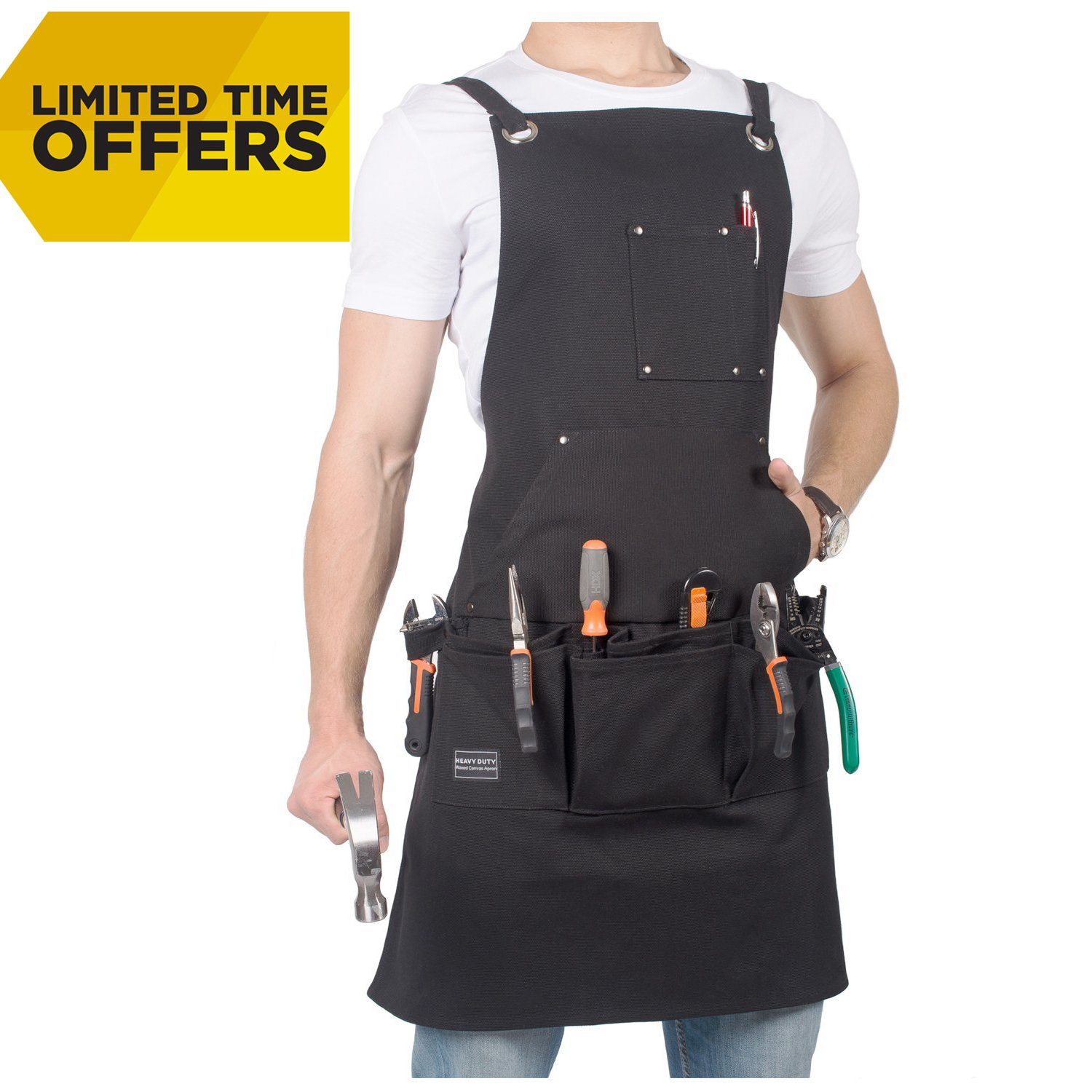 Waxed Canvas Tool Apron-Heavy Duty Work Shop Apron with 12 Pockets, Cross-back Straps - Adjustable Size M to XXL for Men & Women -Stylish for Professional Woodwoking, Carpenter, Blacksmith,Machinist