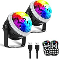 OMERIL Party Lights Disco Balls, 2 Pack USB Powered 11 RGBY Color Disco Lights Sound Activated Strobe Light with Remote Control DJ Lights for Parties Birthday Bar Karaoke Xmas Wedding Show Club