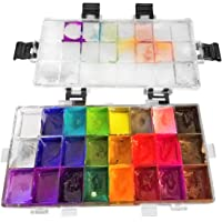 (24) - Palette Case Watercolour Box Painting Container 24 Deep Wells Sealed Plastic Empty for Watercolours, Gouache, Acrylic and Oil Paint