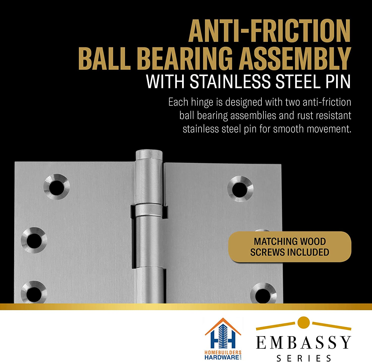 Ball//Urn//Button Tips Included US15 Stainless Steel Pin 2 Door Hinges 3.5 x 3.5 Extruded Solid Brass Ball Bearing Hinge Heavy Duty Satin Nickel Architectural Grade