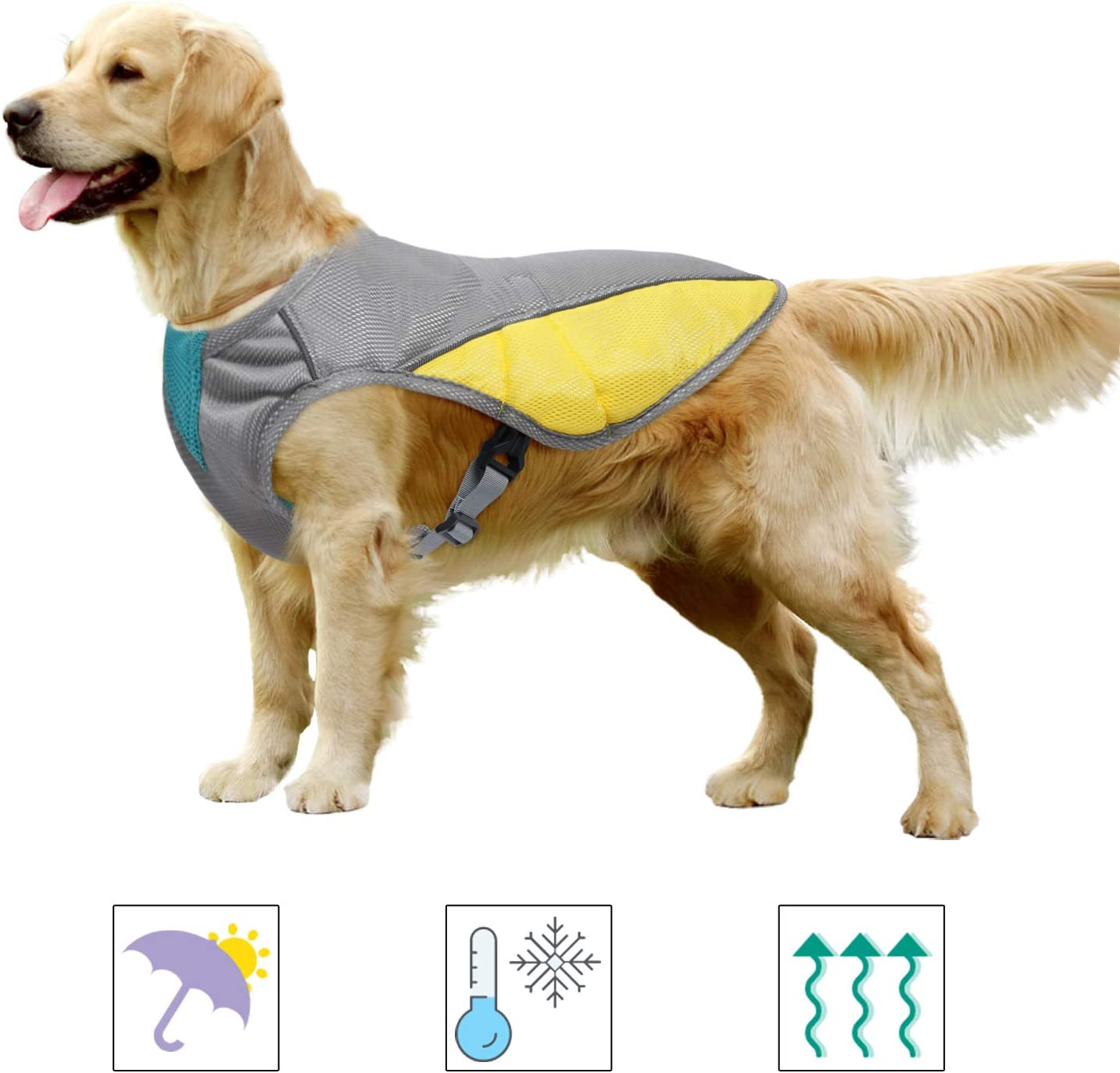 MIGOHI Dog Cooling Vest, Cooling Coat for Dogs, Outdoor Dog Cooler Jacket Harness, Reflective Pet Safety Vest for Small, Medium, Large Dog Breeds