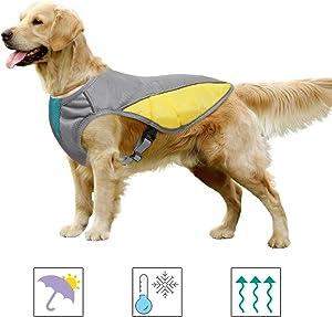 MIGOHI Dog Cooling Vest, Cooling Coat for Dogs, Outdoor Dog Cooler Jacket Harness, Reflective Pet Safety Vest for Small, Medium, Large Dog Breeds