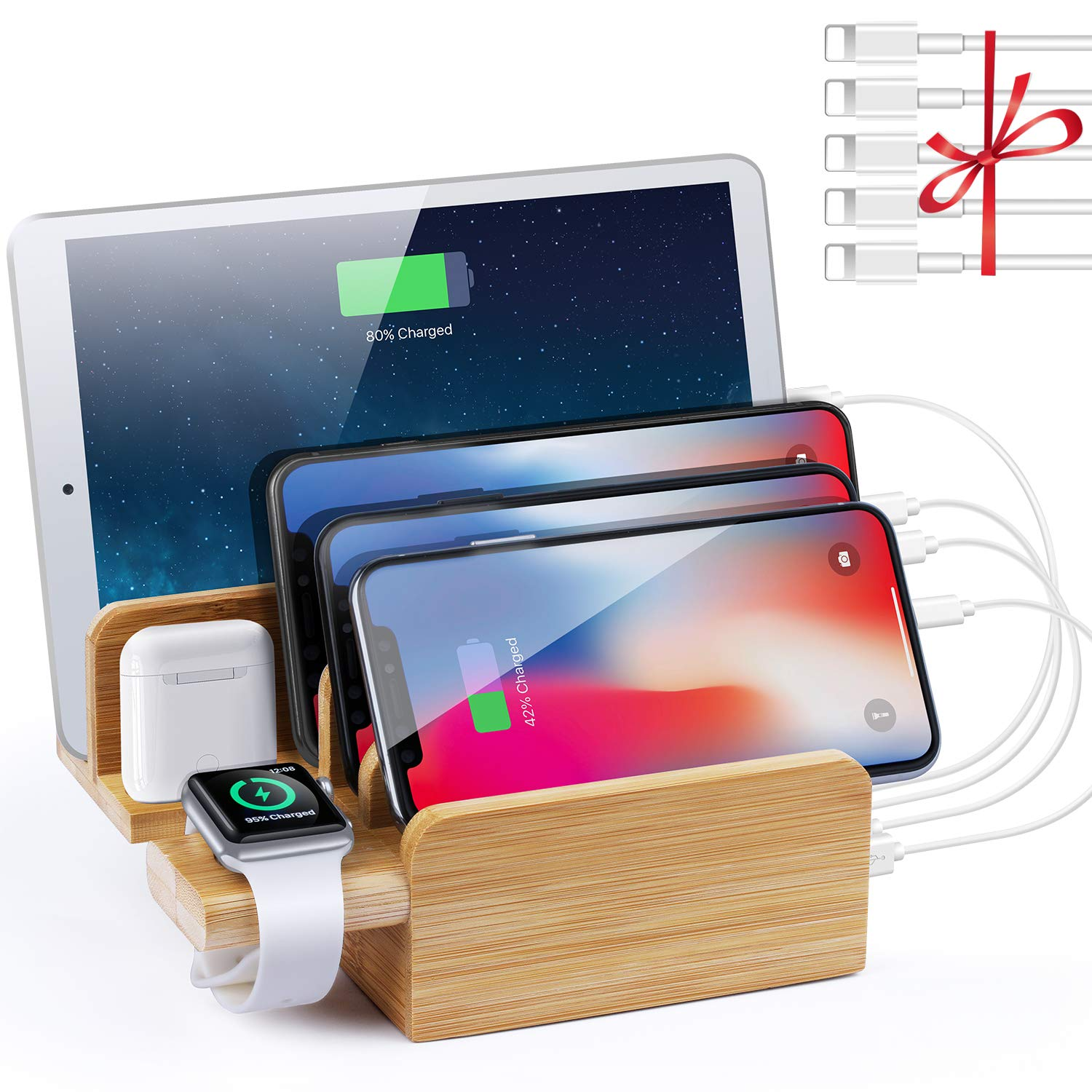 NEXGADGET 6 in 1 Bamboo Charging Station for Multiple Devices,6 Port 40W USB Desktop Charger,Fast USB Charging Station Organizer for Cellphone,Smart Watch,Tablets and Other USB Devices(5 Pack Cables) by NEXGADGET