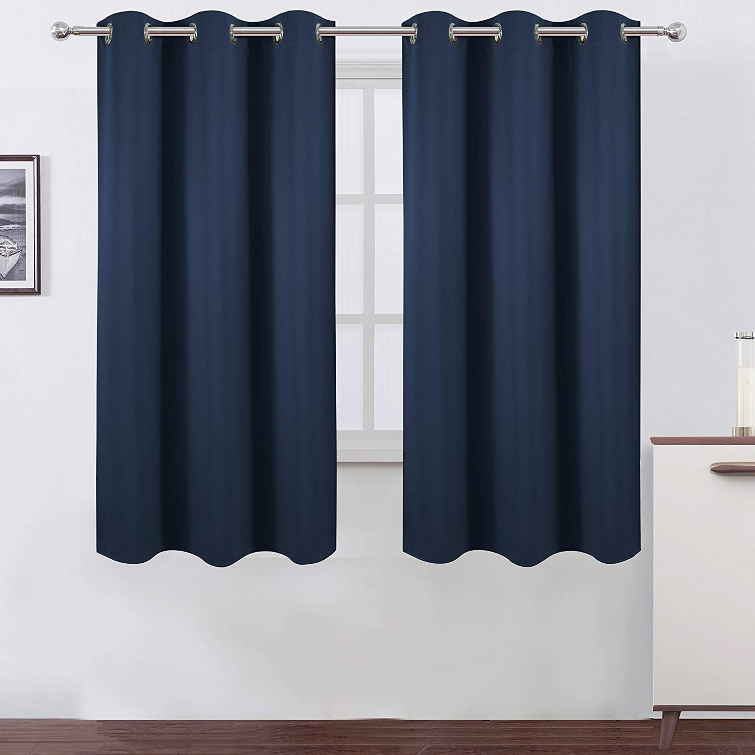 Amazon Com Lemomo Navy Blue Blackout Curtains 42 X 63 Inch Length Set Of 2 Curtain Panels Thermal Insulated Room Darkening Blackout Curtains For Bedroom Kitchen Dining
