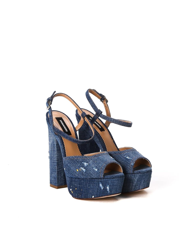 Dsquared2 Femme S17C5065333085 Bleu Coton Sandales  Amazon.fr  Chaussures  et Sacs 8aa7c13bf545
