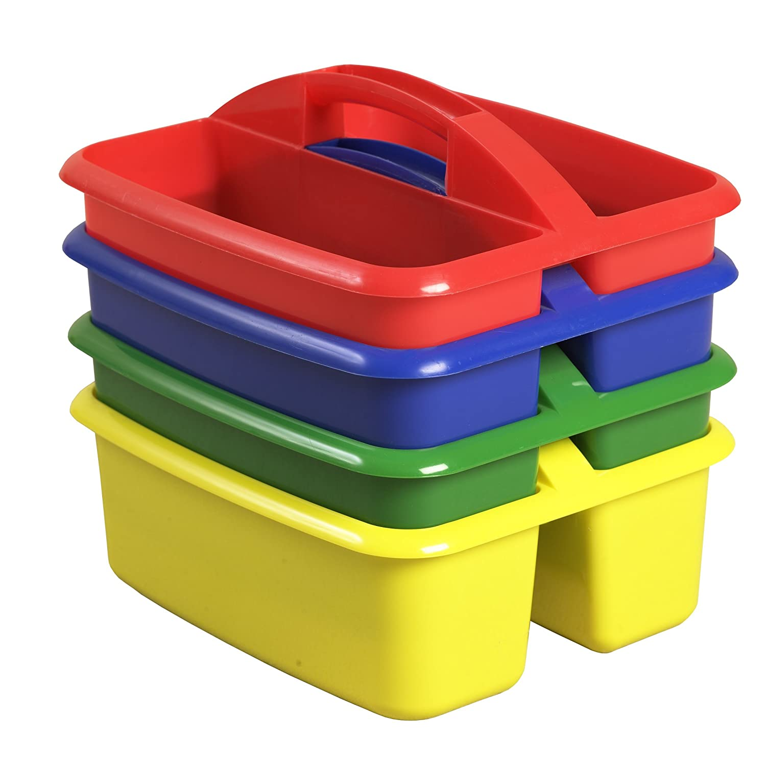 ECR4Kids 2-Compartment Large Plastic Art Caddy Pack of 4 Assorted Colors Vary