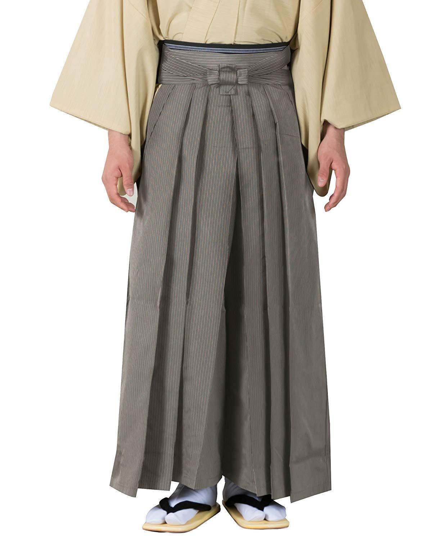 KYOETSU Men's Japanese Striped Hakama Pants Sendaihira Style (Medium, Black)