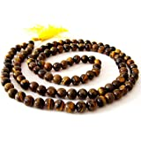 Divine Magic Tiger Eye Crystal Mala for Men and Women for Courage, Confidence and Wealth