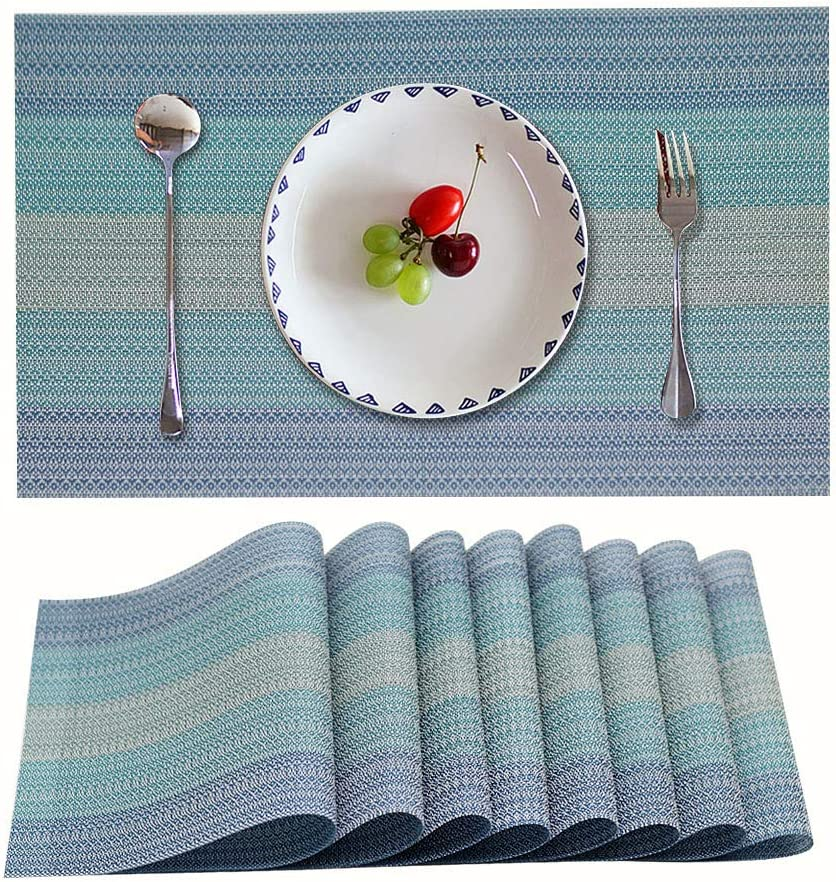 Candumy Blue Placemats for Kitchen Table Set of 8,Heat Stain Non Skid Insulation Crossweave Woven Textilene Vinyl PVC Washable Tablemats for Dinner Table