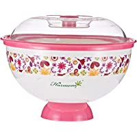 Harmony Salad Bowl with Base and Cover - 1350 Ml, White and Pink,Multi Color