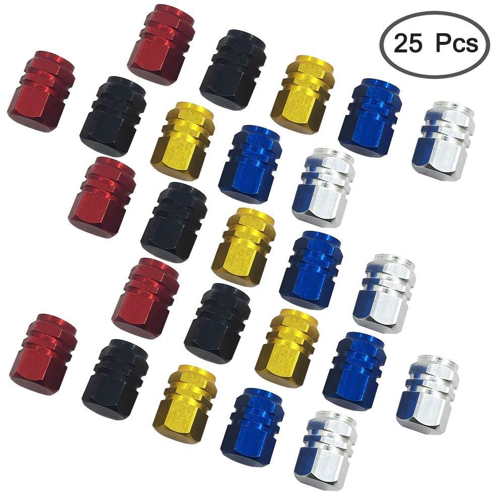 Tapones de v/álvula de aleaci/ón de aluminio V/álvula de neum/ático para evitar fugas de aire para coche Color dorado rojo bicicleta plateado FineGood moto azul y negro cami/ón 25/uds.
