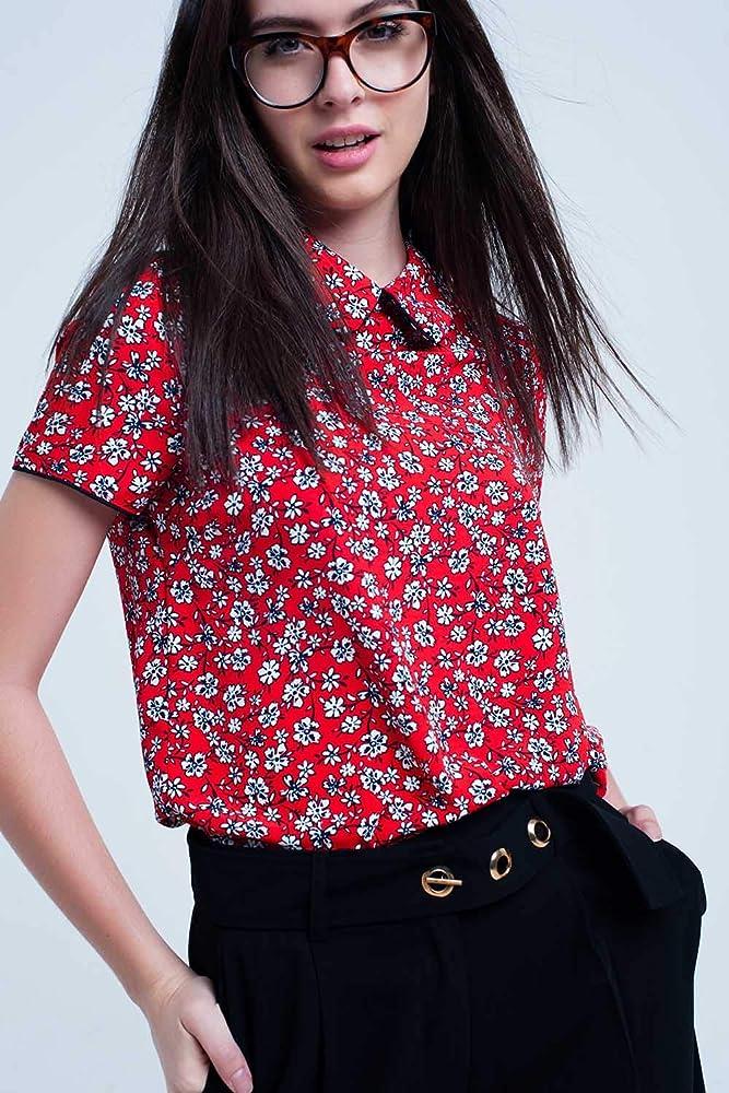 Q2 Camisa roja con Flores Blancas Impresas, Rojo, S Mujeres: Amazon.es: Ropa y accesorios