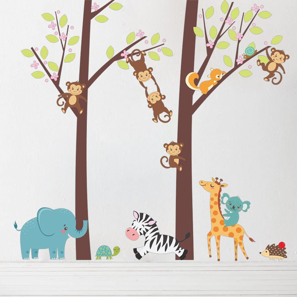 Wall Sticker Cute Jungle Animal Tree Kids Baby Nursery Wall Sticker Mural Decor Decal Removable for Living Room Bedroom Nursery Decoration
