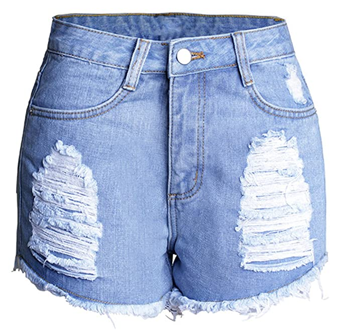 f23d37c7276 Image Unavailable. Image not available for. Color  Allonly Women s Cut Off  Ripped High Waisted Slim Fit Denim Shorts Jean ...