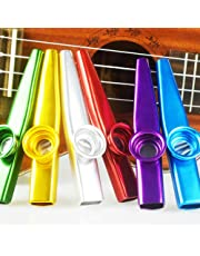 NABLUE Set of 6 Colorful Metal Kazoo Party (Kazoo Kid Trap Music) - A Good Companion for Guitar, Ukulele, Violin, Piano Keyboard