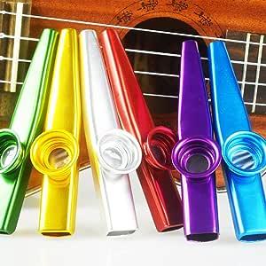 SINBLUE Juego de 6 Coloridos Metal Kazoo Un buen compa/ñero para guitarra ukelele viol/ín piano teclado gran regalo para los amantes de la m/úsica de los ni/ños, Kazoo Kid Trap Music