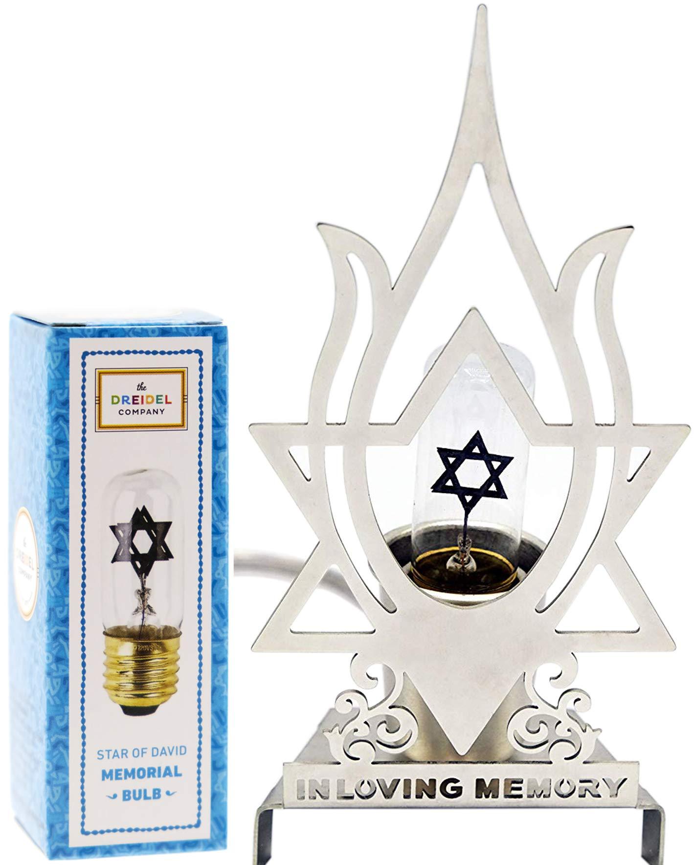 Electric Memorial Lamp Aluminum Tall Jewish Flame Design Memory Yahrzeit Yizkor Lamp with Neon Jewish Star Bulb