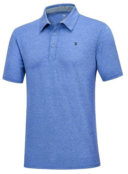 b865c3b1 TBMPOY Men's Quick-Dry Regular Fit Short Sleeve Golf Polo Shirt(01blue,us