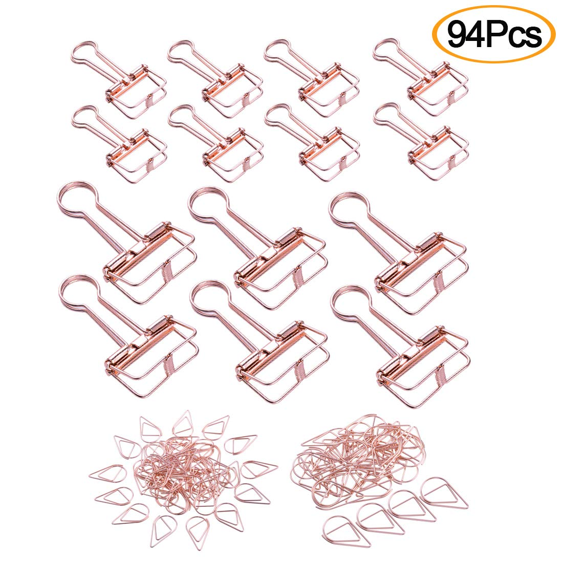 94Pcs Rose Gold Clips Set Include 14 pcs Binder Clips and 80 pcs Paper Clips,4 Sizes Suitable for Home, Office,School
