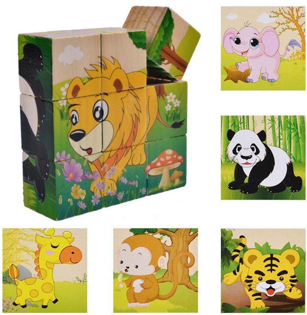 Zicue Educativos Niños Jigsaws Cubo de Madera Creativo Puzzle Early Learning Shapes Animal Toy niños (al Azar)