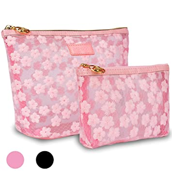 b669ee7cf405 Large Makeup Bag for Purse-Zakaco Cute Pink Floral Cosmetic Pouch ...