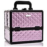 Joligrace Makeup Organiser Box Cosmetic Case Storage Vanity Box for Makeup Beginner or Daily Use, Medium Size: 25 x 18 x 23(cm), Purple