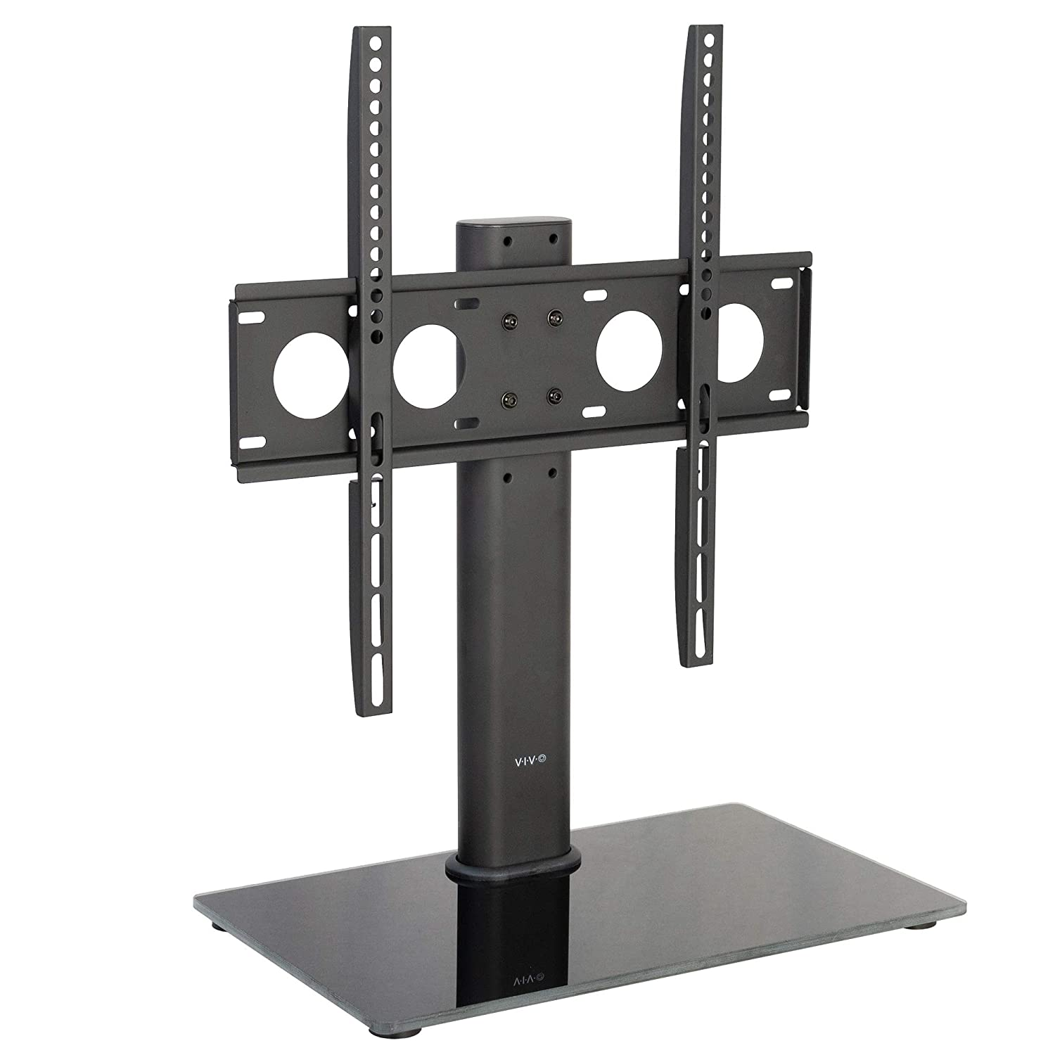 VIVO Black Universal TV Stand for 32 to 50 inch LCD LED Flat Screens Tabletop VESA Mount with Tempered Glass Base and Cable Management STAND-TV00J
