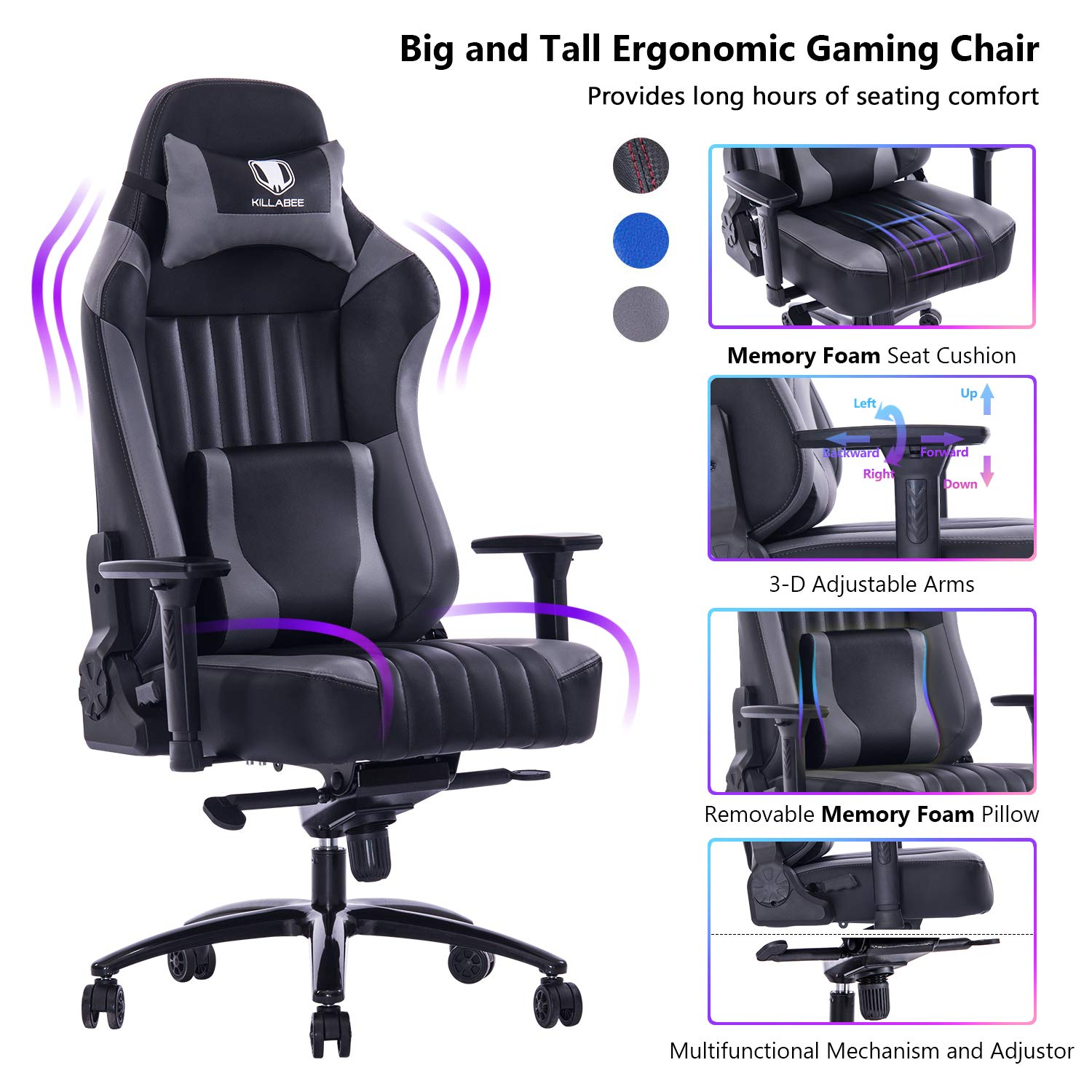 VON RACER Big and Tall 400lb Memory Foam Gaming Chair-Adjustable Tilt, Angle and 3D Arms Ergonomic High-Back Leather Racing Executive Computer Desk Office Metal Base (Gray) by VON RACER