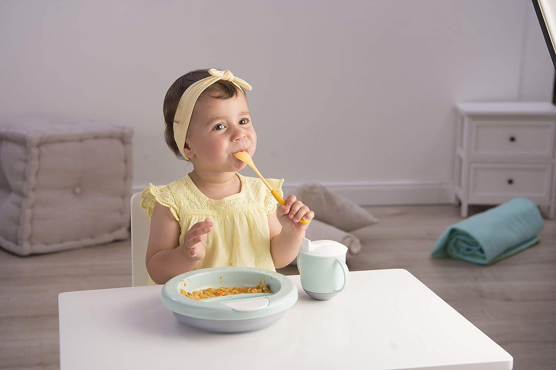 Blanco//Plata perla//Marr/ón Alimentaci/ón moderna A partir de 6 Meses 30020025601 Rotho Babydesign Plato termo 20,5 x 20,5 x 4,6 cm
