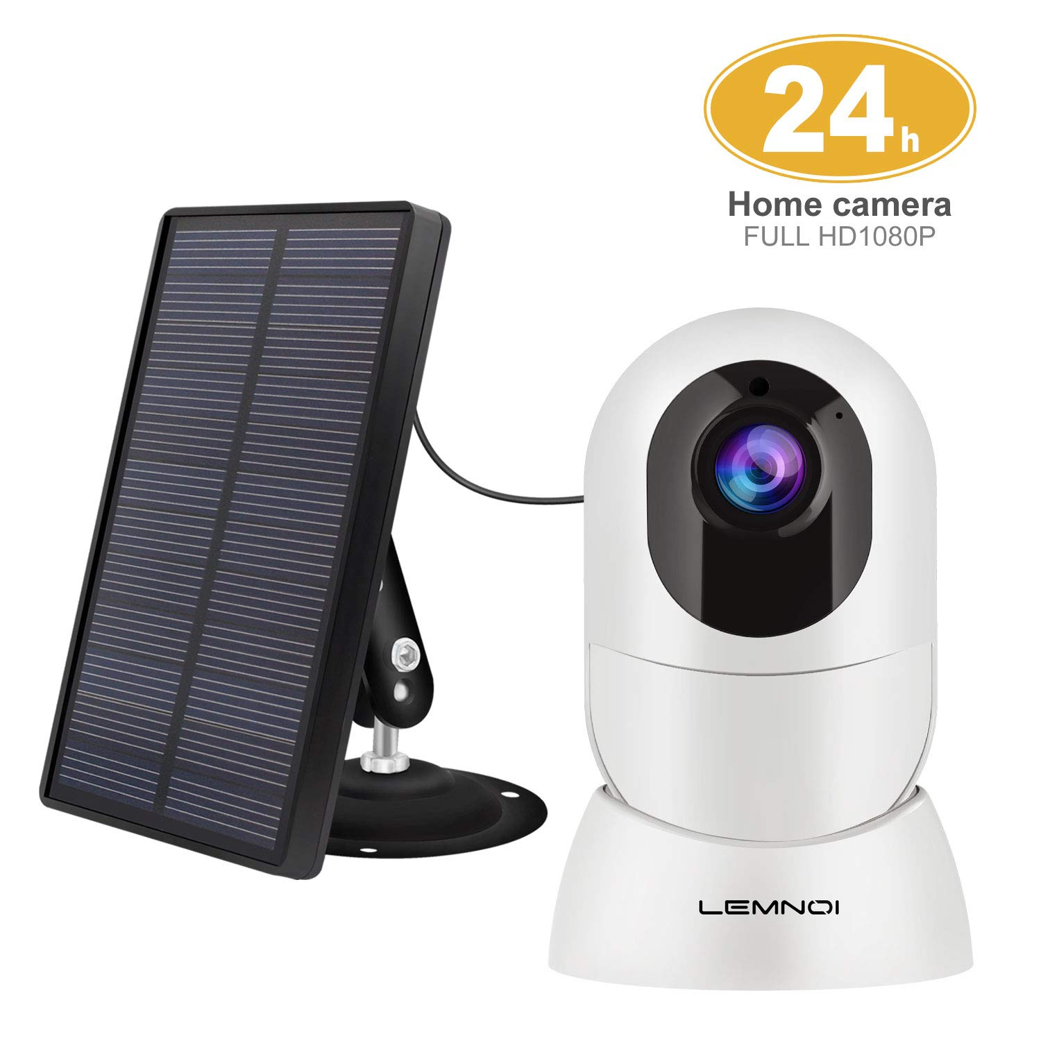 Lemnoi Wireless Rechargeable Battery Security Camera Solar Panel, 1080p HD Outdoor Indoor Solar Powered Camera Night Vision IP65 Weatherproof 2-Way Audio PIR Motion Detection Free Cloud Record