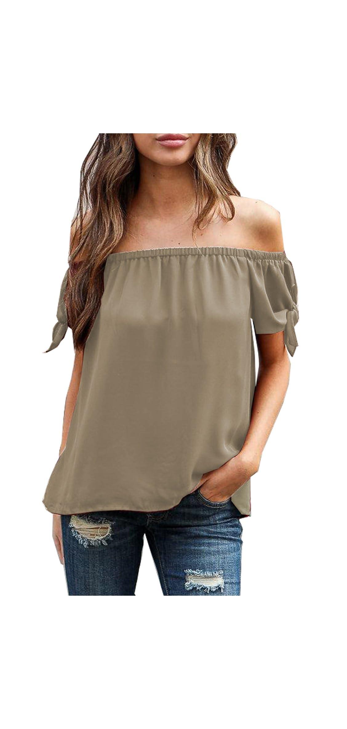 Summer Women's Short Sleeve Off Shoulder Tops Casual