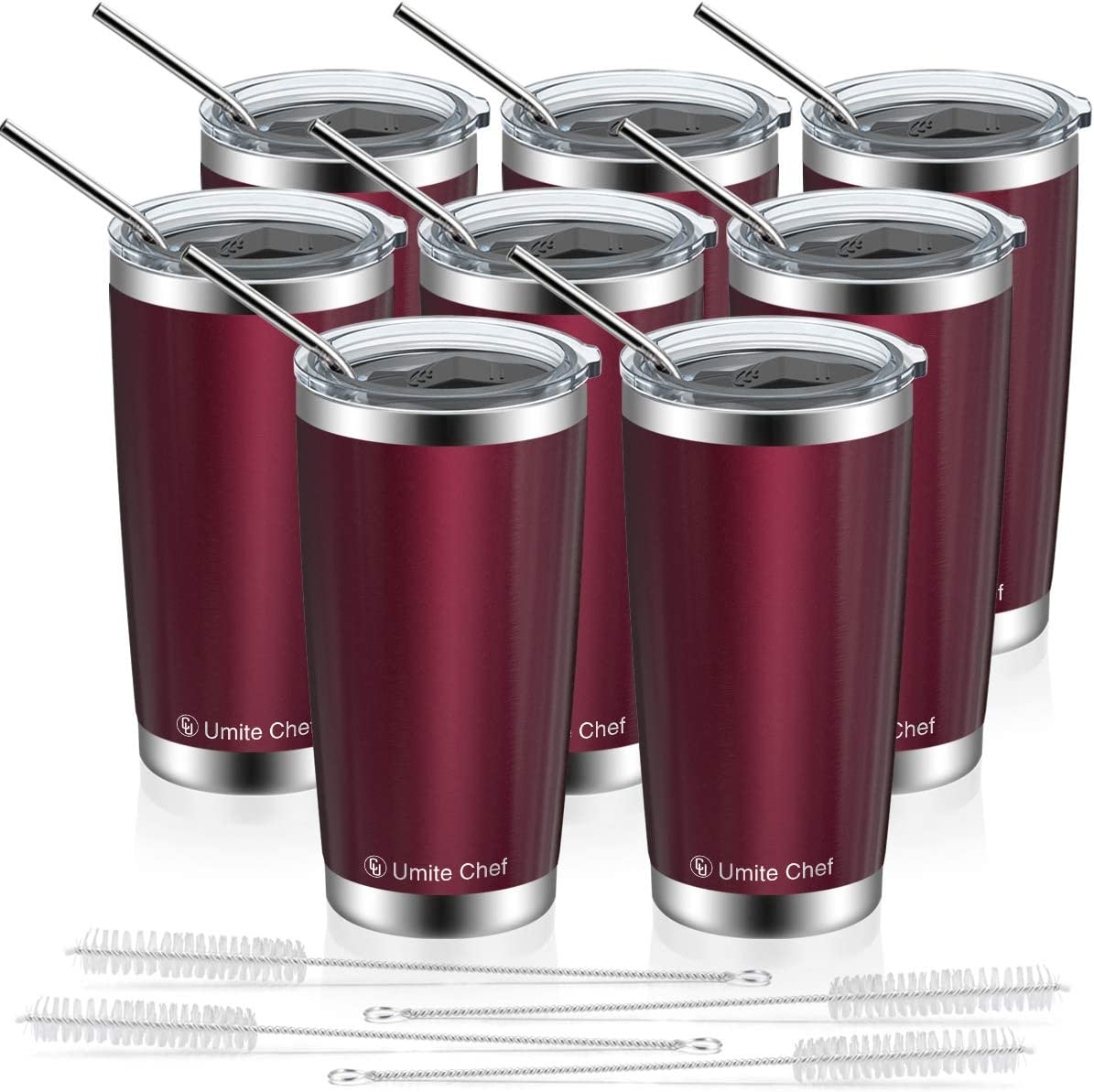 20oz Tumbler with Lid and Straw, Umite Chef Stainless Steel Vacuum Insulated Double Wall Travel Mug Tumbler Bulk, Insulated Coffee Mug for Outdoor, Office, Ice Drink, Hot Beverage (8 Pack, Wine Red)