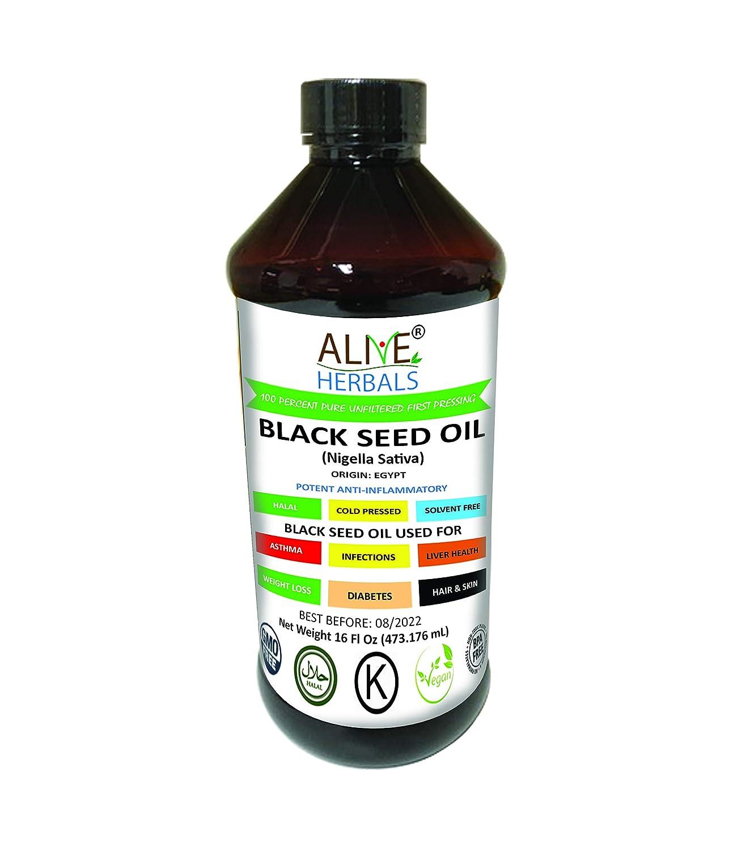 Alive Herbal Black Seed Oil - Egypt- Nigella Sativa - Virgin 100% Raw Cold Pressed, Unfiltered, Vegan & Non-GMO, No Preservatives & Artificial Color- BPA Free Food Grade Plastic Bottle-16 Oz.