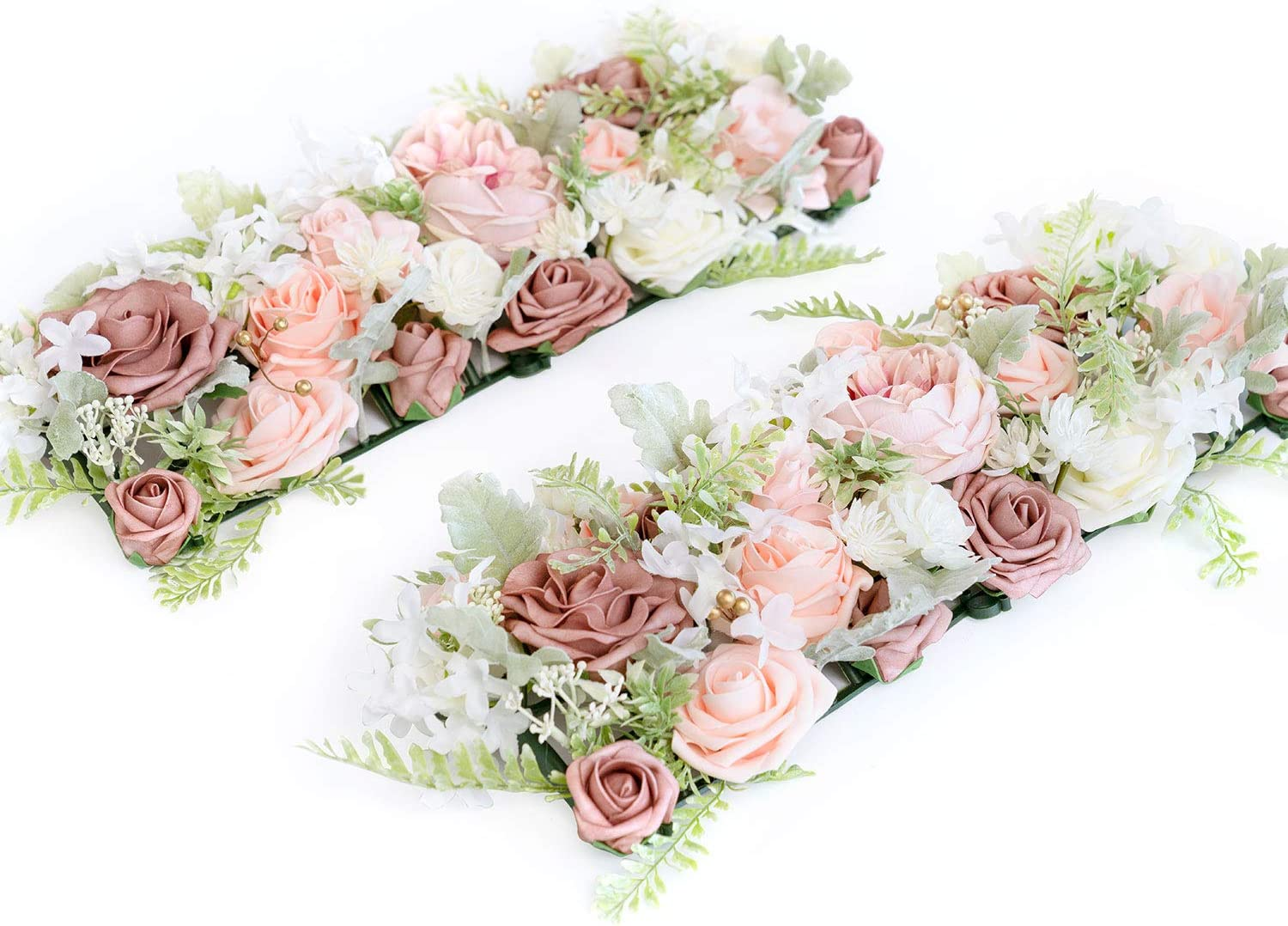 Ling's moment Ready to Use Wedding Table Centerpieces Dusty Rose Flower Arrangements 34.4'' in Total Set of 2 for 45'' Sweetheart/Head/Reception/Banquet-Style Table Setting Decorations