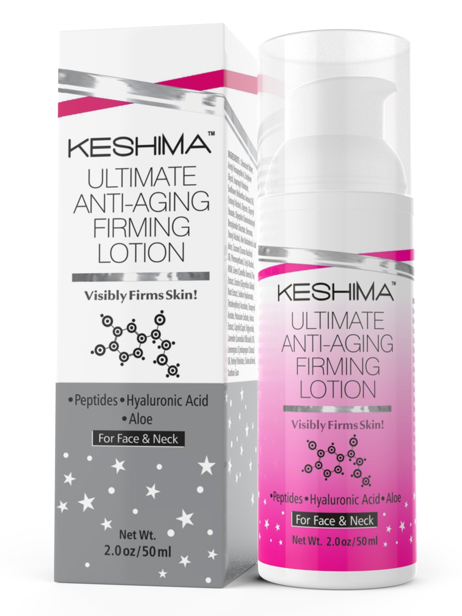 Face & Neck Firming Cream - Lotion Tightens Loose and Sagging Skin - Smooths Wrinkles and Fine Lines - 2 Oz. by KESHIMA (Image #1)