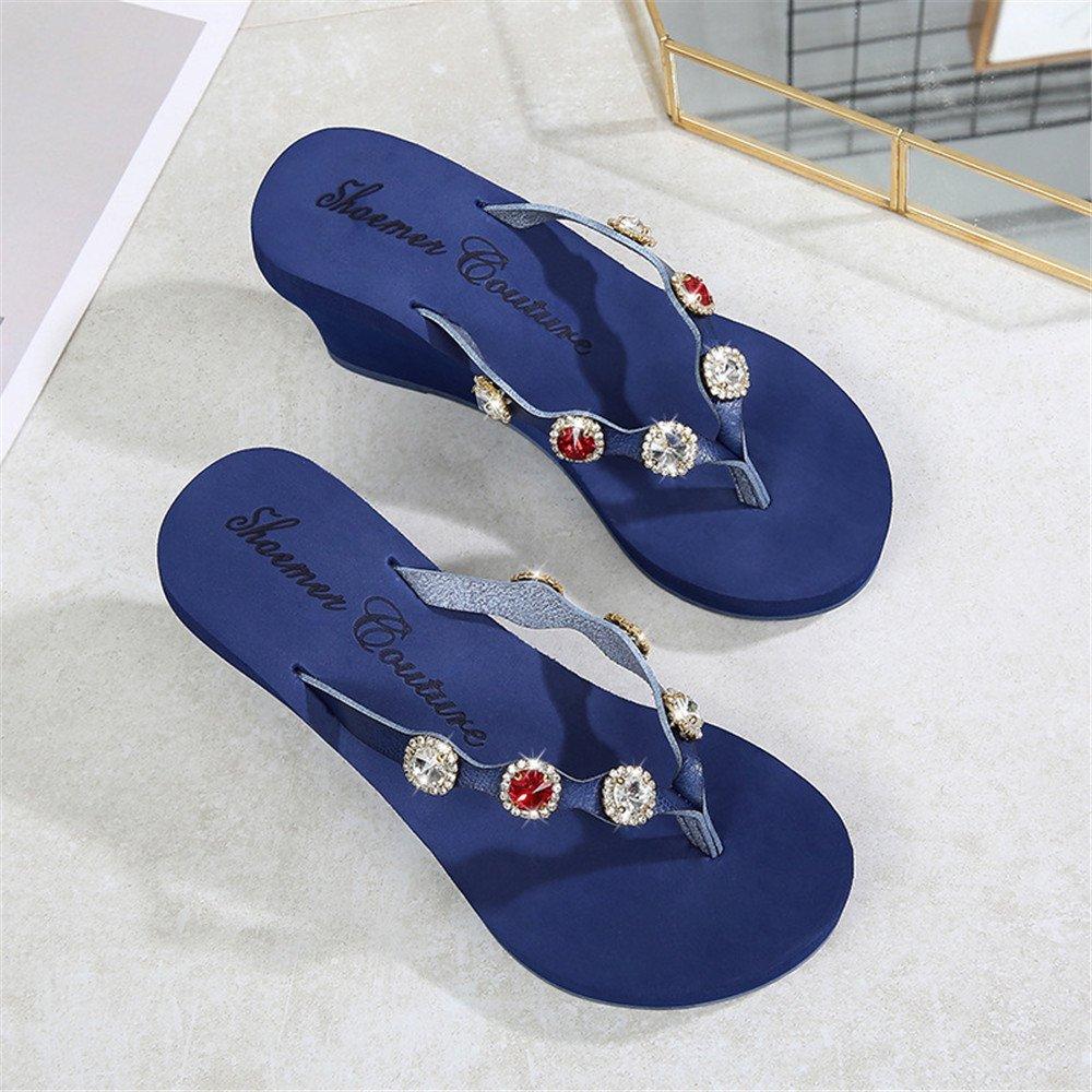 Angel love beauty Plataforma y Cuña Zapatillas Rwomen Lady'S Leisure Beach Plataforma Zapatillas Cuñas Chanclas Chanclas al Aire Libre (Color : Blue, Size : 37 1/3EU) 37 1/3EU|Blue