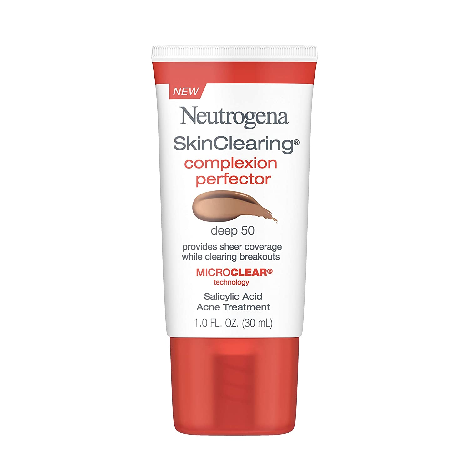 Neutrogena SkinClearing Complexion Perfector Sheer Tinted Facial Moisturizer with Salicylic Acid Acne Medicine, Non-Comedogenic, Skin-Tone Evening and Pore Minimizing, Deep, 1 fl. oz (Pack of 2)