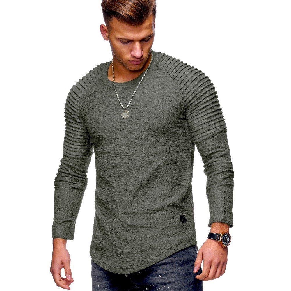 Shirts For Men, Clearance Sale !! Farjing Men's Casual Solid Color Fold Round Neck Long-sleeved T-shirt Blouse Tops(XL,Army Green)