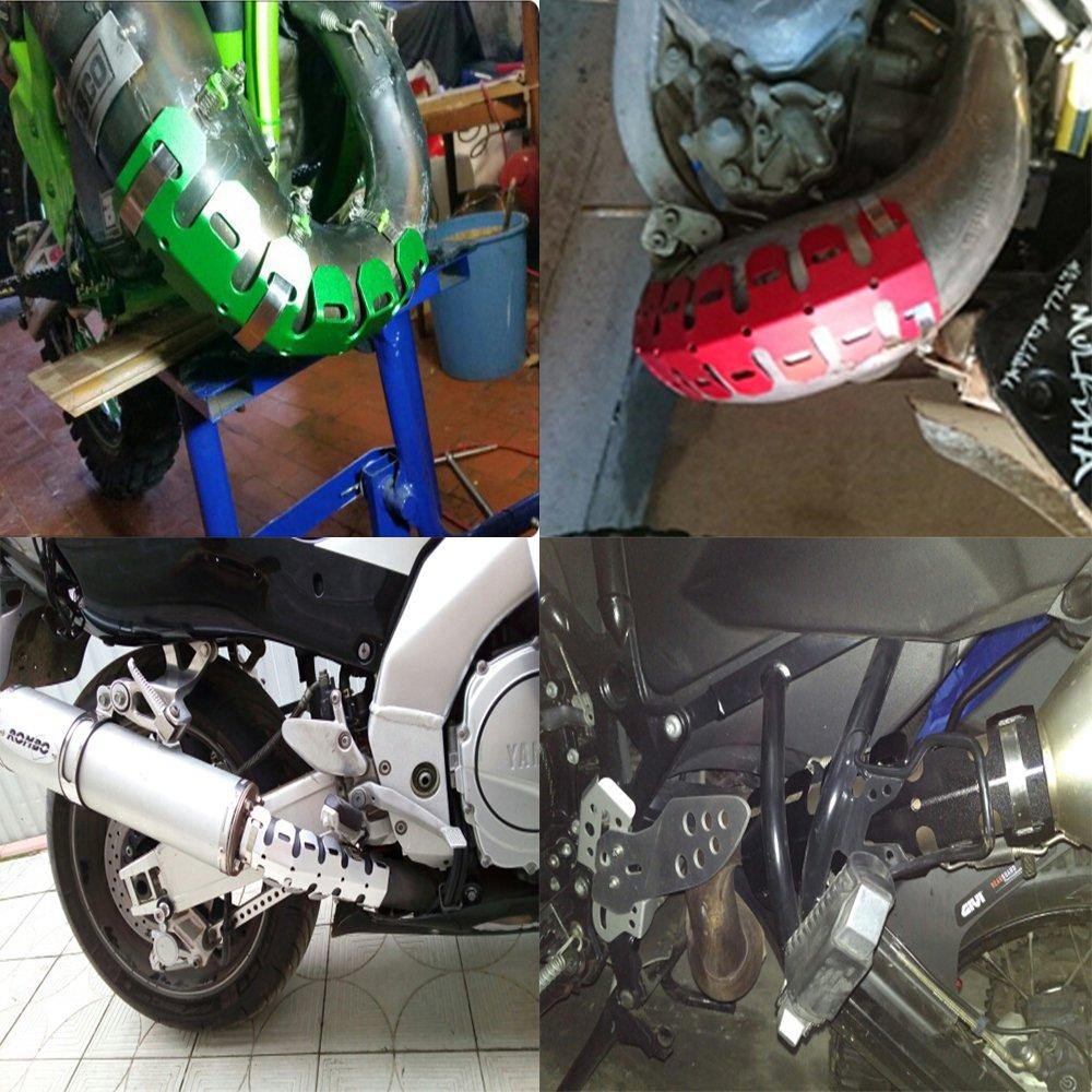 Blu Motociclo 490MM Universale Protezione del Tubo di Scarico Coperchio Paracalore Copertura Antiscottatura per BMW F650 R1200GS G650X Yamaha TTR YZ WR XT Honda XR CR CRF CRM