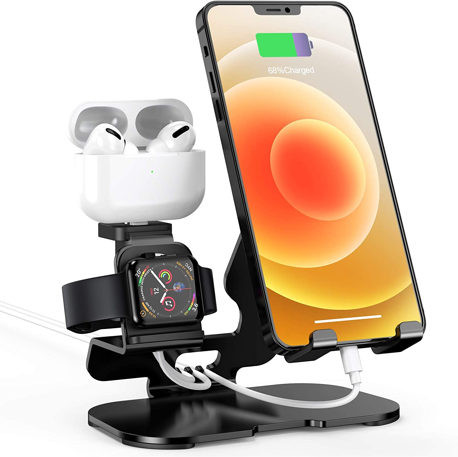3 in 1 Charging Stand for Apple Watch, iPhone & Airpods Pro, HoRiMe Charging Dock Compatible with iPad, iPhone, Apple Watch Series SE/ 6/5/4/3/2/1, Airpods Pro/2/1(Charger & Cables Required) Black