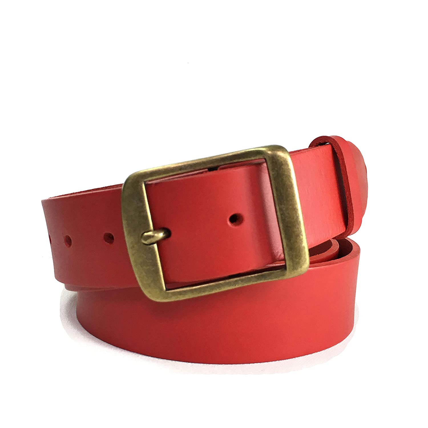 3083aa4007e3a Red Leather Belt with Square Antique Brass Buckle - 1