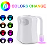 Sunnest Motion Activated Toilet Night Light, LED Bowl Light, Motion Sensor Seat Light 8 Color Changing, Fit Any Toilet, White