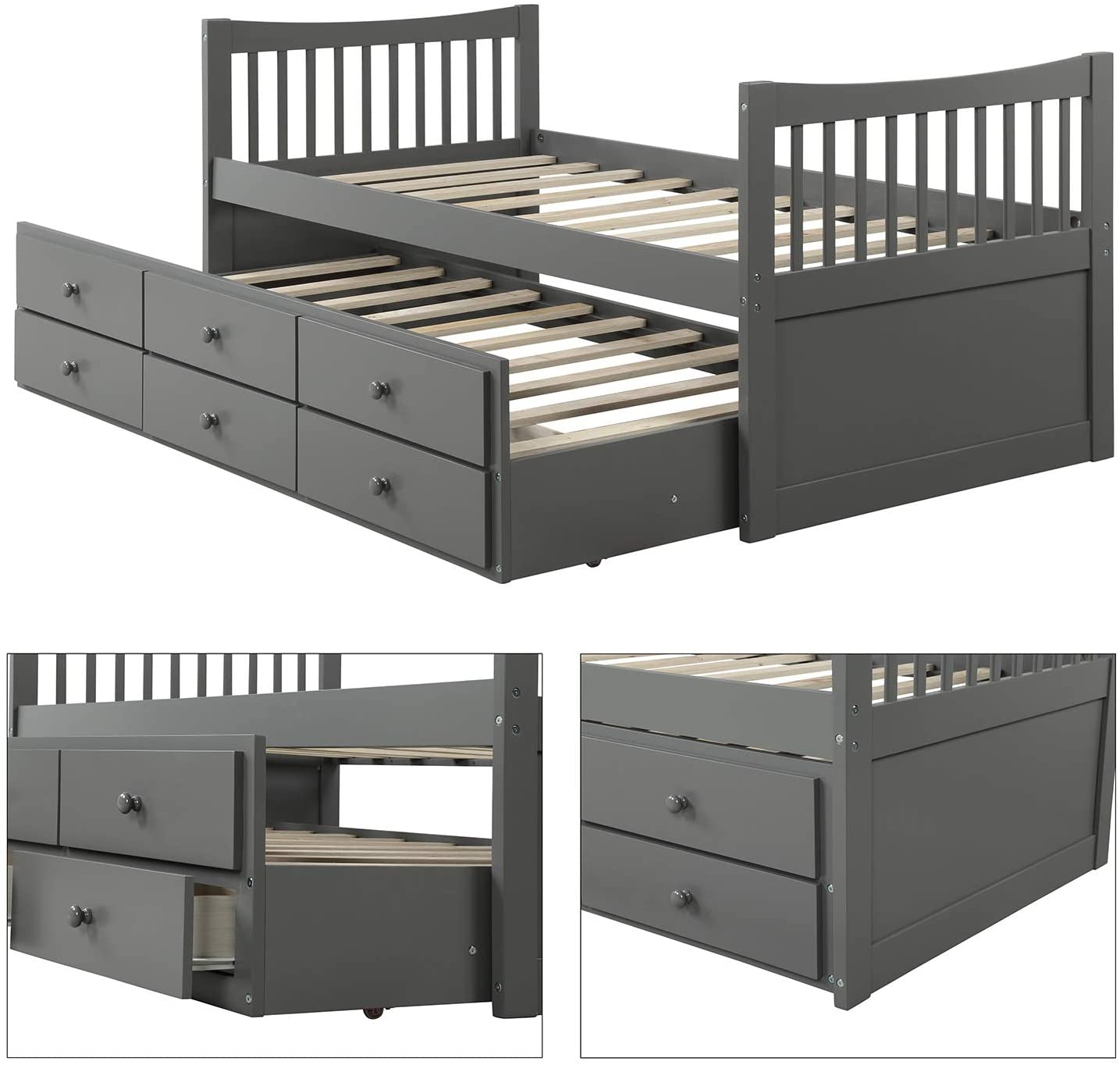 Twin Captains Bed Storage Daybed with Trundle and Drawers for Kids Teens and Adults Grey