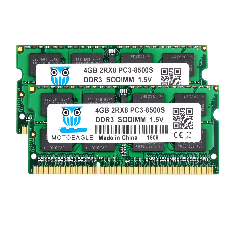 Memoria Ram 8GB Kit (2x4GB) PC3-8500 DDR3 1066 Mhz Motoeagle 2Rx8 PC3 4GB DDR3 204pin SODIMM 1.5V CL7 Upgrade Chi
