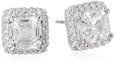 Beginnings Cubic Zirconia Square with Border Stud Earrings - Silver LoDE9W