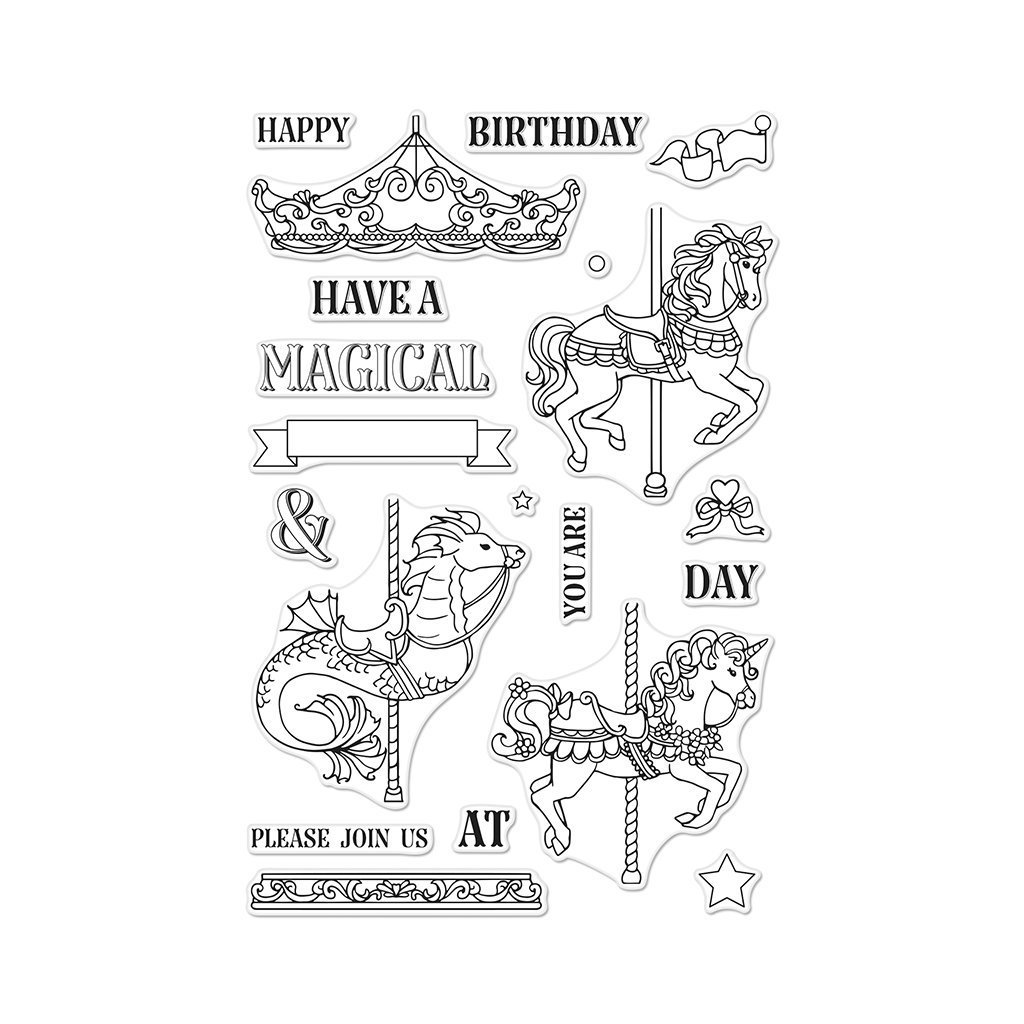 Hero Arts Ornate Carousel Clear Unmounted Rubber Stamp Set (CM296)